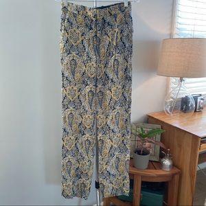 Zara navy and goldenrod print pants